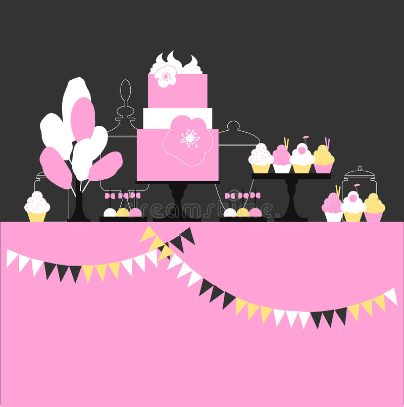 Dessert bar with cake. royalty free illustration