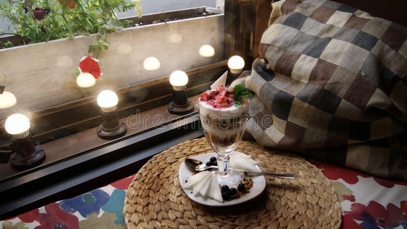 Dessert with berries stock photo