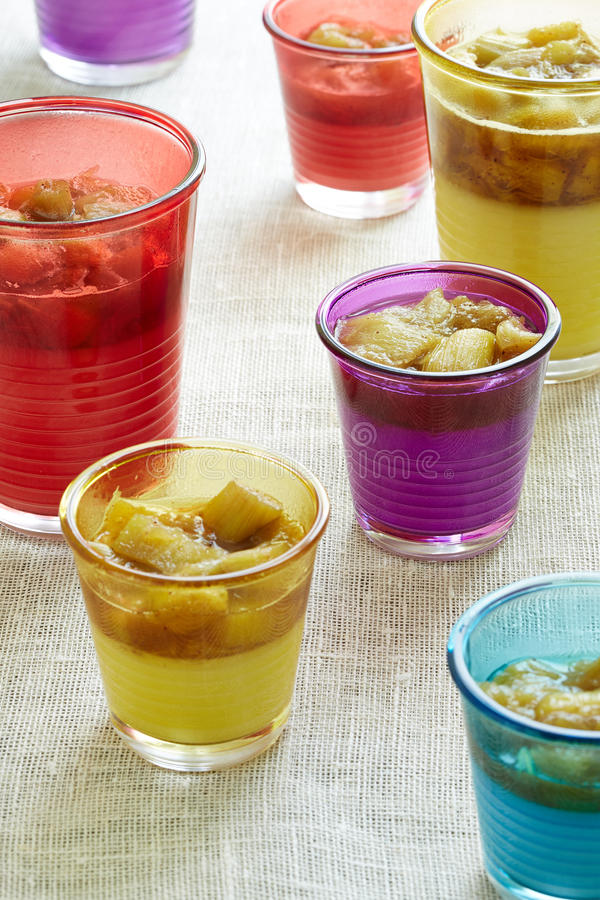 Dessert beverage with rhubarb stock image