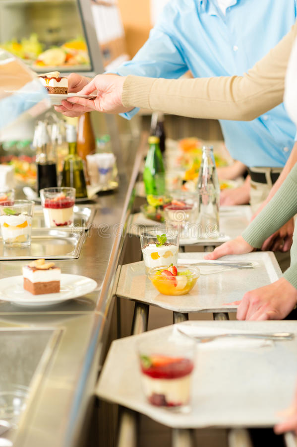 Download Dessert At Cafeteria Self-service Canteen Stock Image - Image of hand, service: 24708849