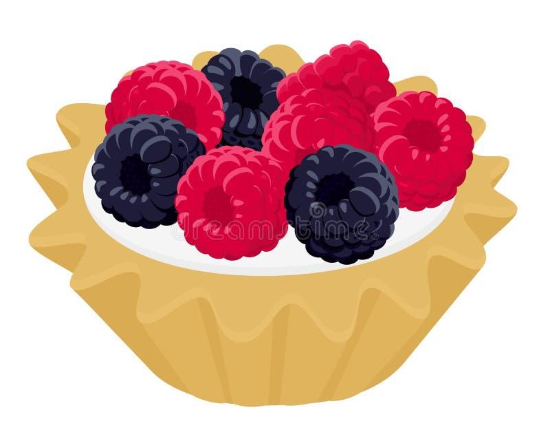 Dessert cake tartlet with cream, raspberry and blackberry. Vector illustration on white wooden background stock illustration
