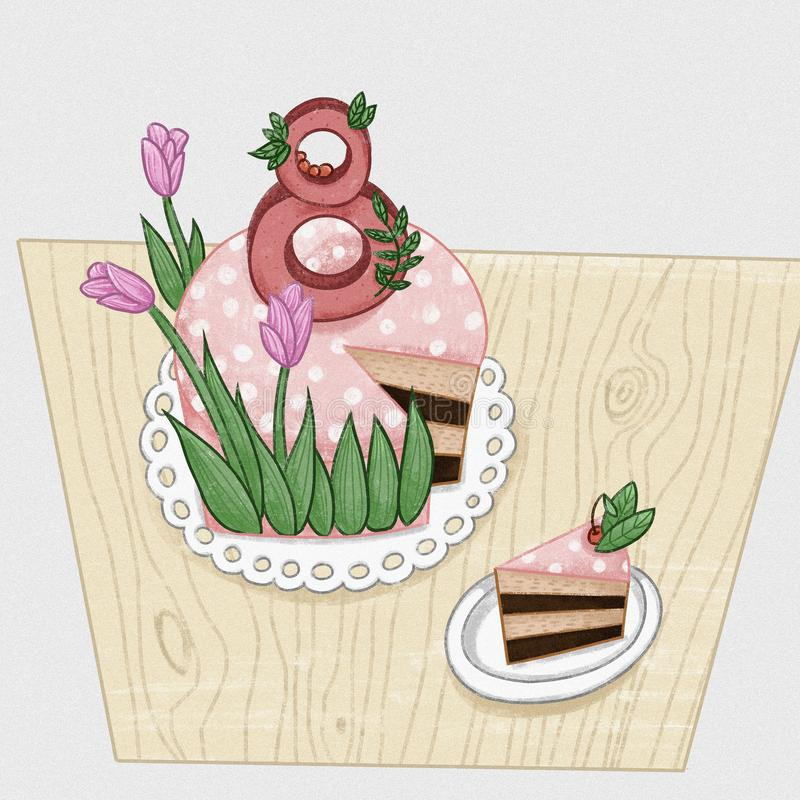 Dessert cake with tulips flowers. A gift to a woman on March 8th holiday, international Women`s Day royalty free illustration