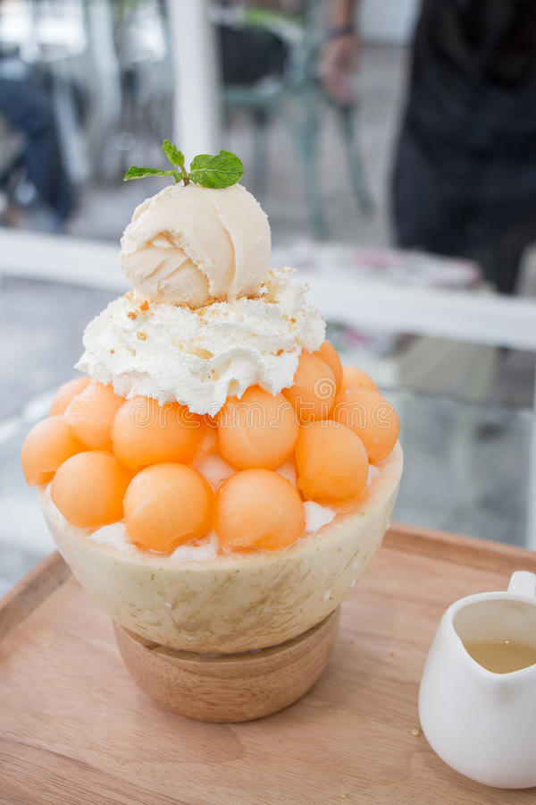 Dessert, Cantaloupe melon Ice cream or Bingsu. royalty free stock image