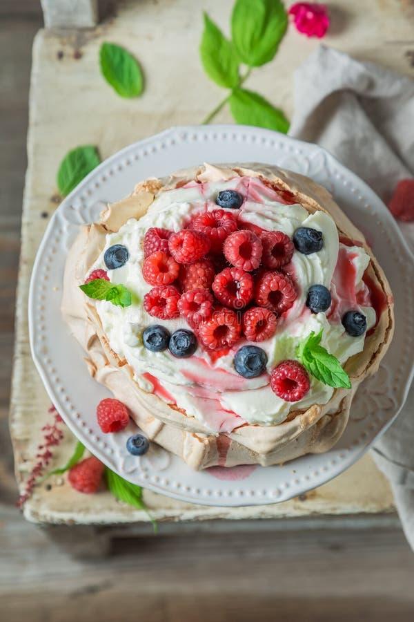 Dessert casalingo di Pavlova con la mousse dei lamponi, della meringa e del lampone immagini stock libere da diritti
