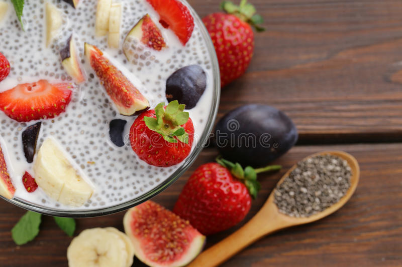 Dessert chia seed pudding with berries and fruits - healthy eating. Super food royalty free stock photography