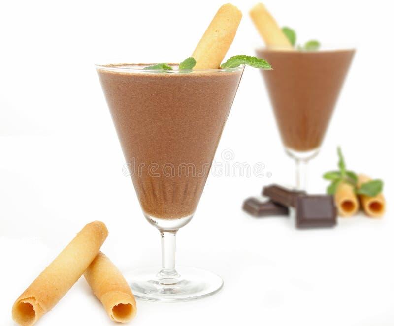 Dessert, chocolademousse stock afbeelding