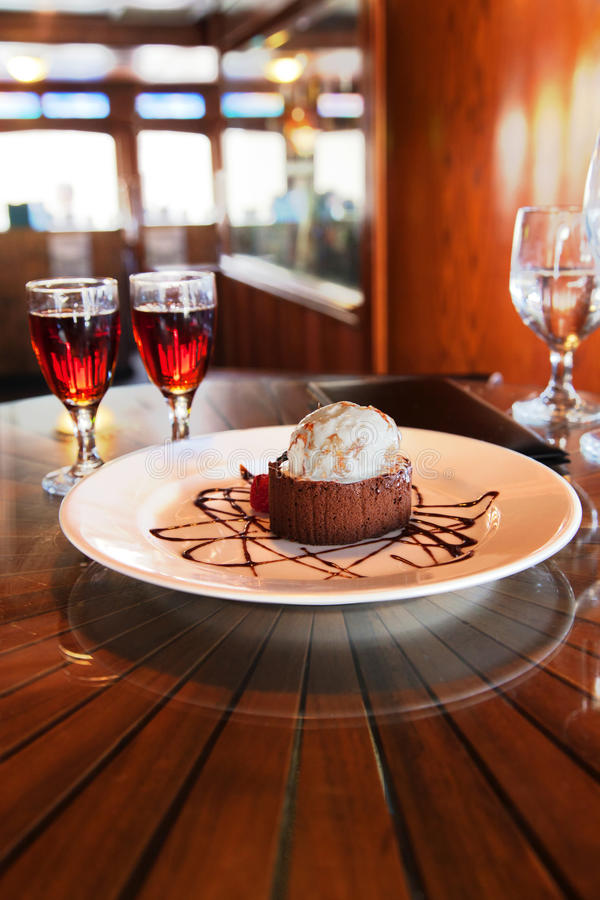 Download Dessert and Cognac stock image. Image of delicious, plate - 33976237
