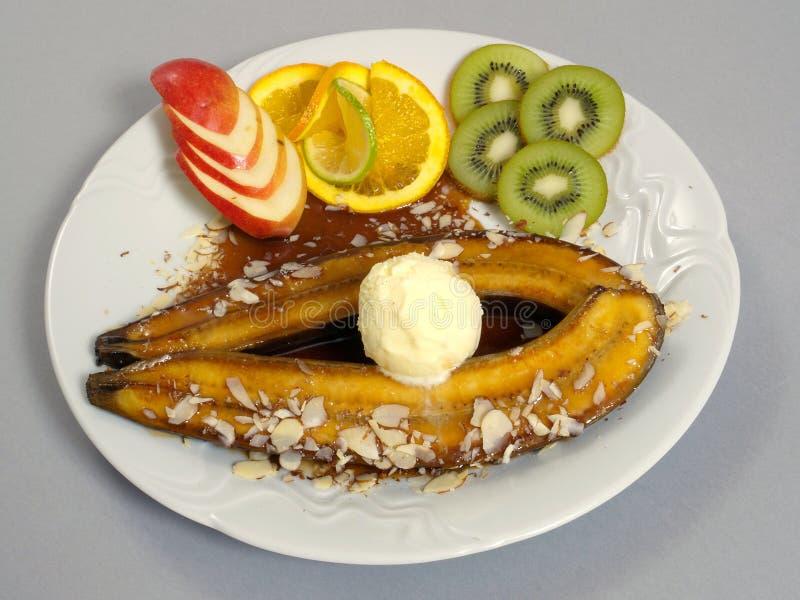 Dessert con la banana immagini stock