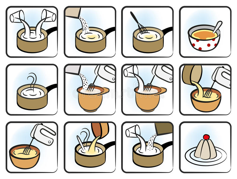 Download Dessert Cooking Icons stock vector. Image of creme, saucepan - 30743535