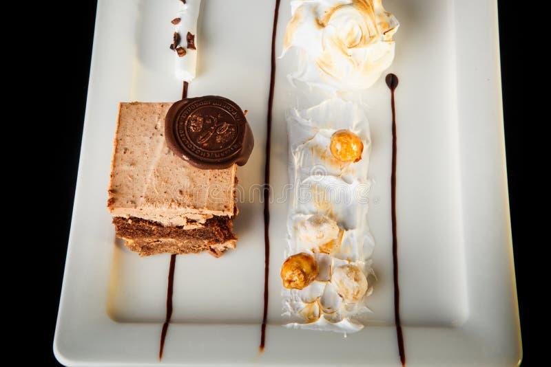 Dessert crémeux de mousse de caramel savoureux de plan rapproché de vue supérieure photographie stock