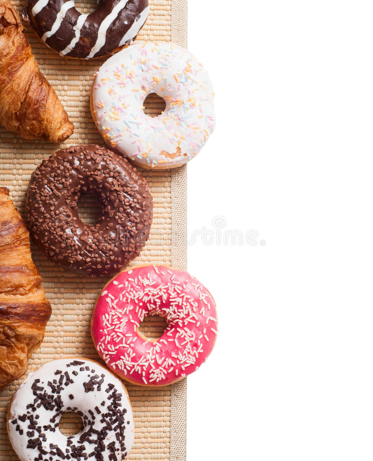 Dessert. Croissant & donut isolated on white background royalty free stock photos