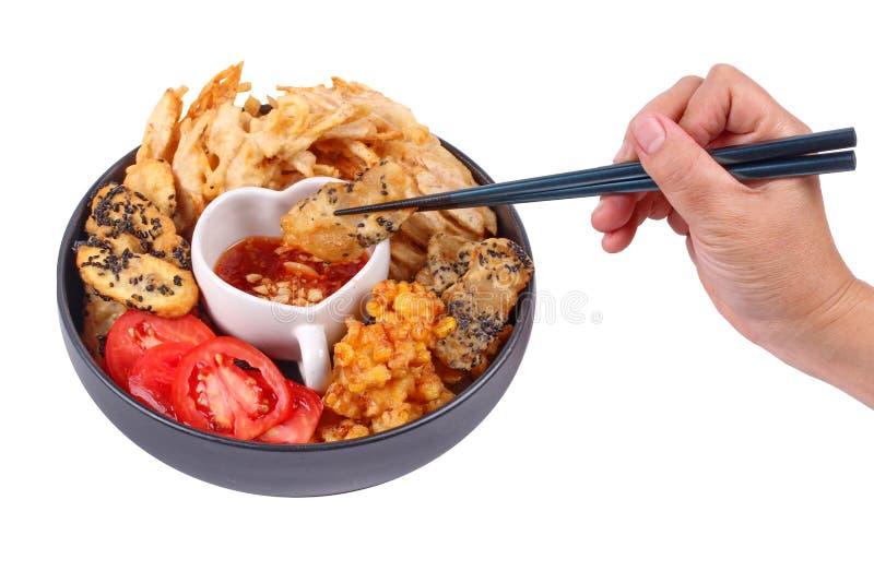 Dessert cuit à la friteuse de maïs, de taro, de Gao nian et de banane photographie stock libre de droits