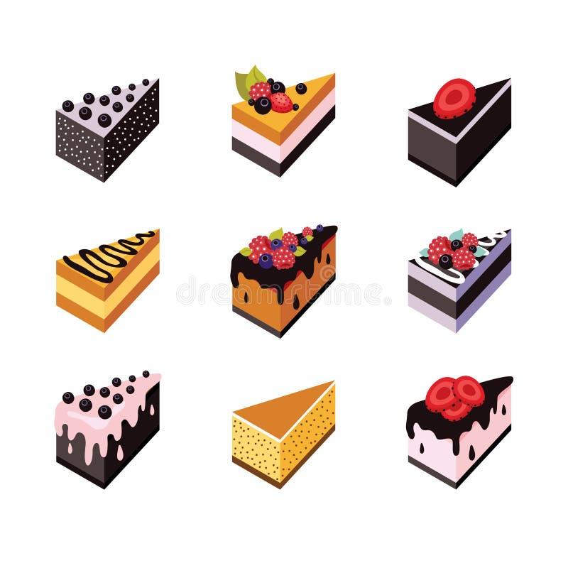 Dessert délicieux de conception de gâteau de Web de collection plate isométrique réglée d'icône illustration de vecteur
