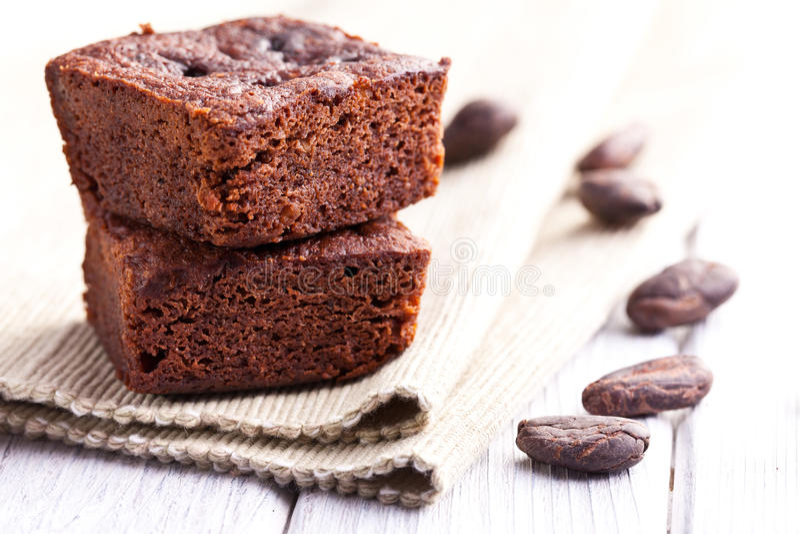 Dessert de 'brownie' de chocolat photos stock