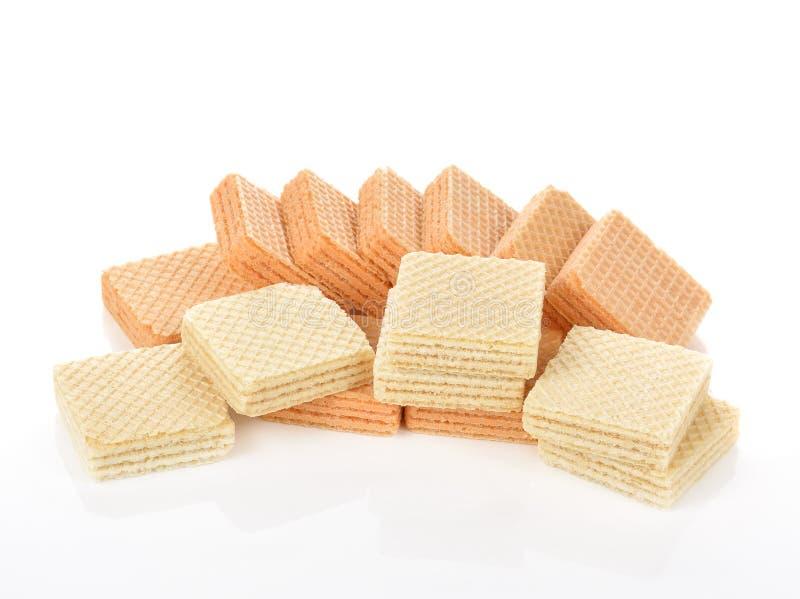 Dessert de g?teau de gaufre d'isolement sur le fond blanc photographie stock libre de droits