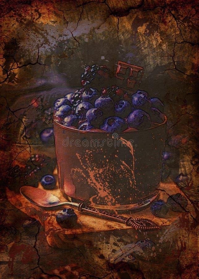 Dessert del cioccolato con i mirtilli immagini stock