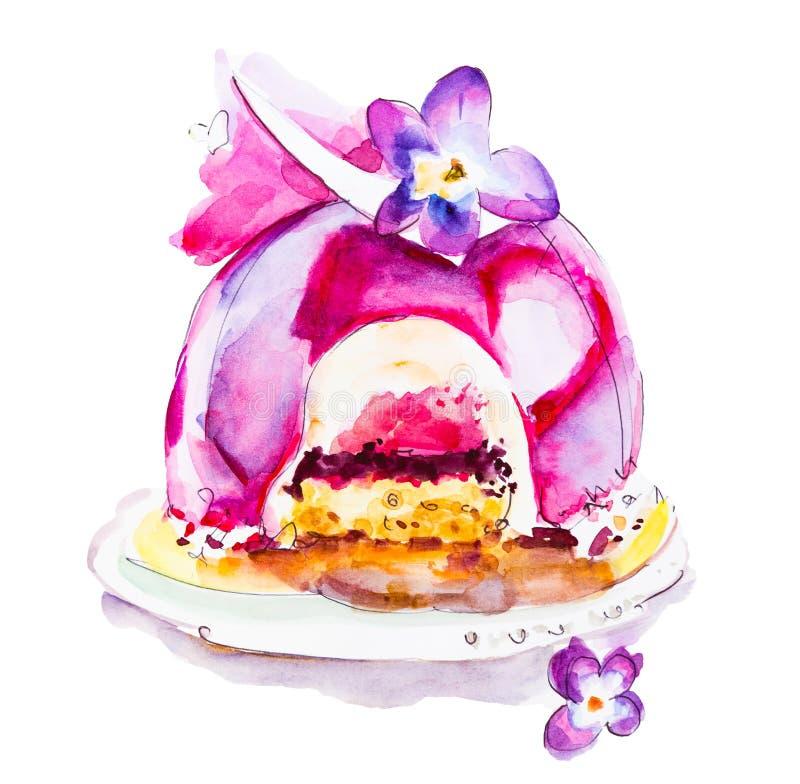 Dessert del dolce dell'acquerello Illustrazione isolata dell'alimento su fondo bianco royalty illustrazione gratis