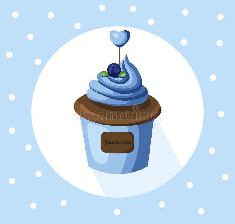 Dessert dell'illustrazione di vettore del muffin del bigné del mirtillo Icona del modello per il menu, caffè, forno Retro priorit illustrazione vettoriale