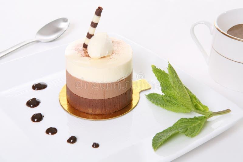 Dessert della torta del Mocha immagini stock