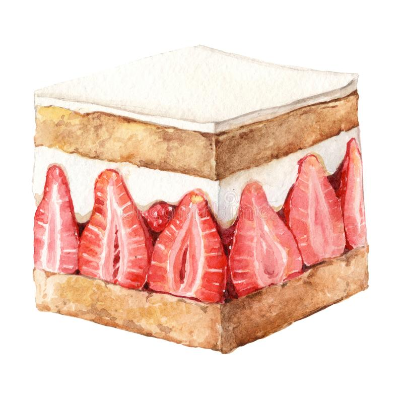 Dessert della torta della fragola dell'acquerello fotografia stock