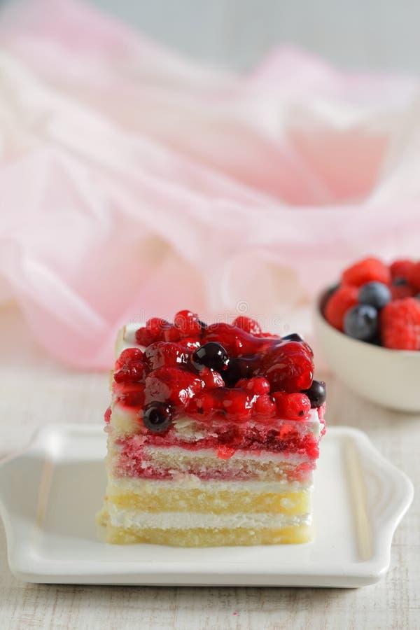 Dessert di estate con crema delicata e le bacche fresche immagine stock libera da diritti