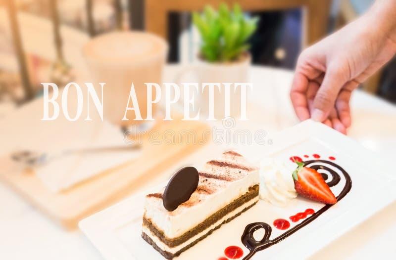 Dessert di tiramisù sulla tavola fotografia stock libera da diritti