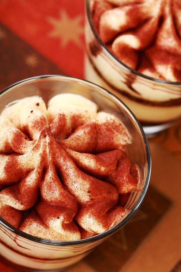 Dessert di Tiramisu per natale fotografia stock libera da diritti