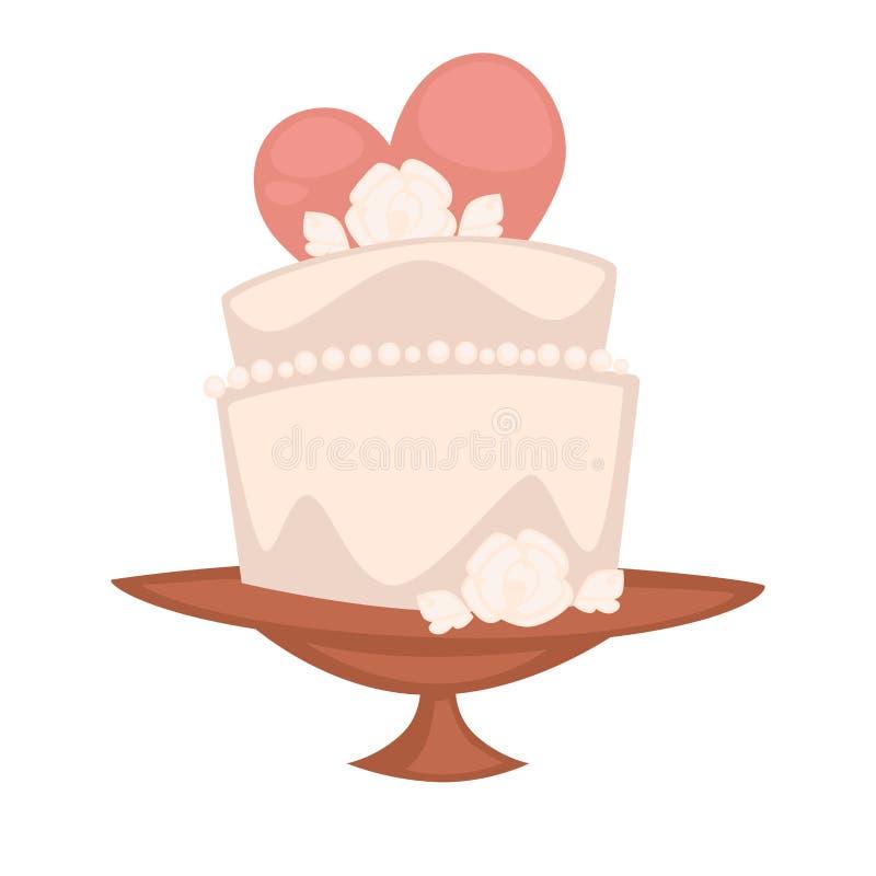 Dessert doux de double gâteau pour la célébration de vacances d'engagement Illustration de vecteur illustration de vecteur