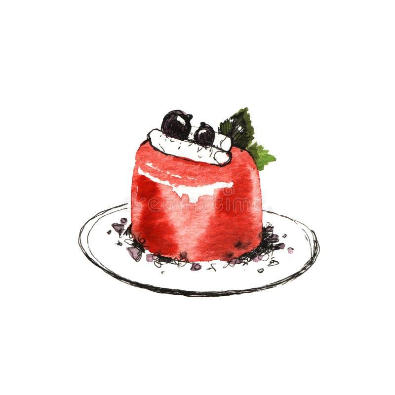 Dessert doux, gâteau avec la gelée et baies Illustration d'aquarelle images stock