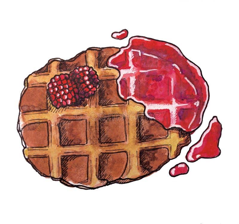 Dessert doux, gaufre belge avec de la confiture de framboise, aquarelle tirée par la main illustration stock