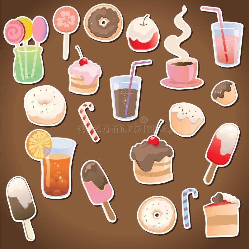 Dessert et boissons sur le fond foncé images stock