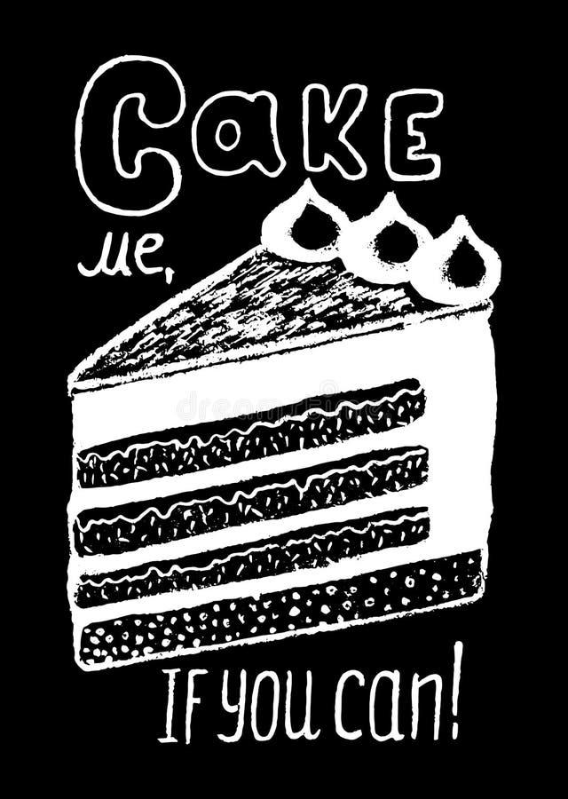 Dessert et inscription de la craie blanche sur l'illustration noire Dessin doux de griffonnage de tarte illustration libre de droits
