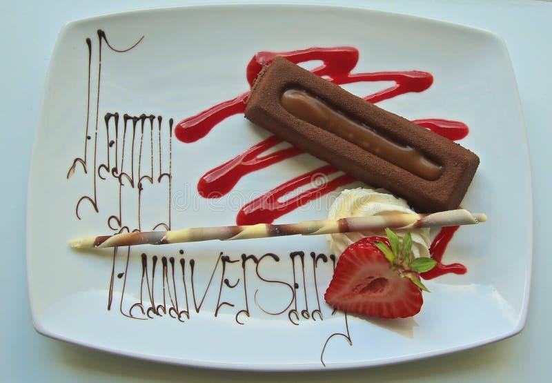 Dessert felice di anniversario immagini stock