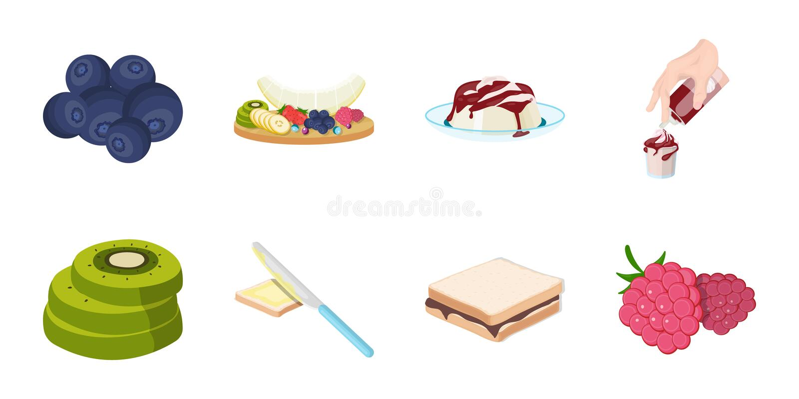 Dessert fragrant icons in set collection for design. Food and sweetness vector symbol stock web illustration. Dessert fragrant icons in set collection for royalty free illustration