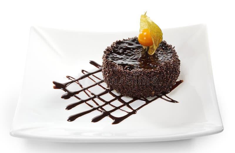 Dessert - gâteau glacé par chocolat image libre de droits