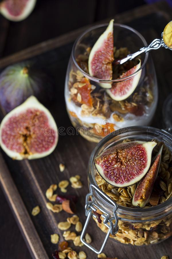 Dessert with granola and Greek yogurt royalty free stock photography