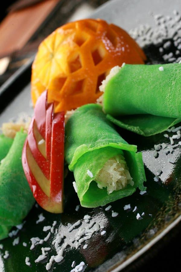 Dessert-groene pannekoeken stock afbeeldingen