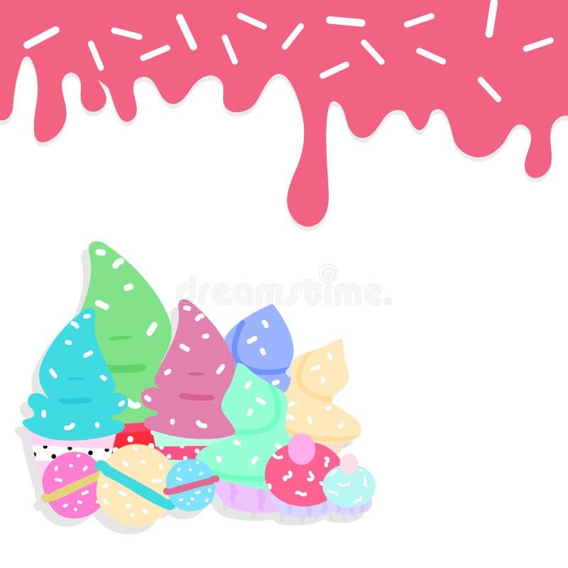 Dessert, het concepten abstracte van het suiker zoete voedsel zieke vector als achtergrond vector illustratie