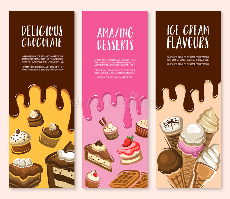 Dessert, ice cream and chocolate pastry banner set vector illustration