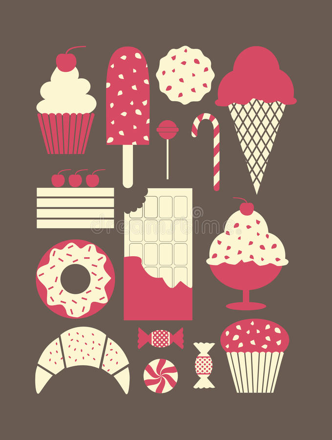 Download Dessert Icons Collection stock vector. Illustration of pastry - 29478671