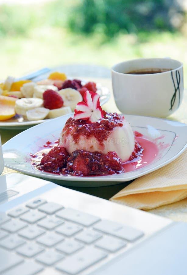 Dessert italien de cotta de panna le matin images libres de droits