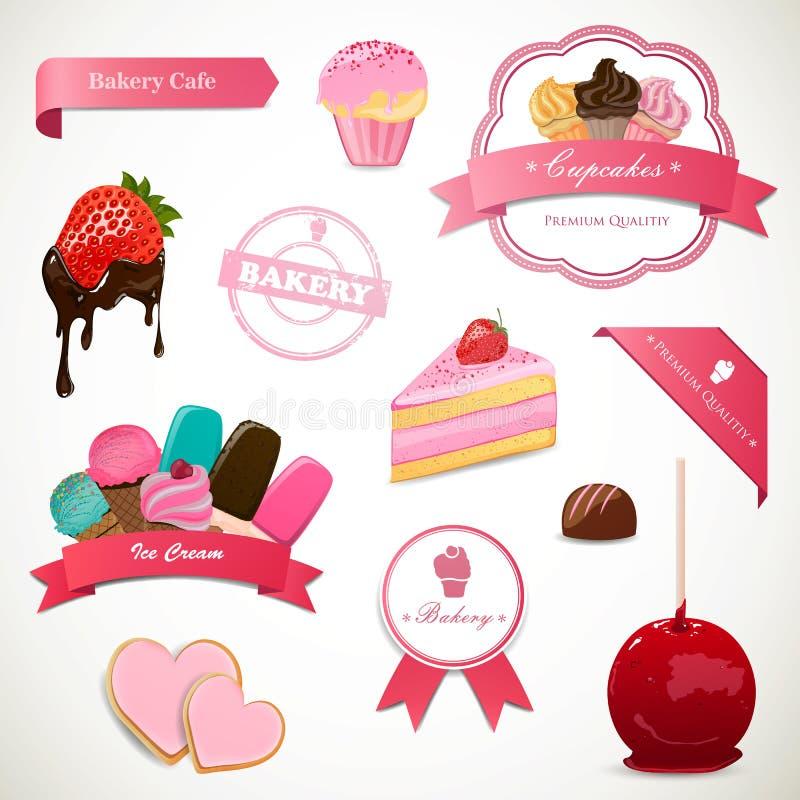 Dessert Labels and Elements royalty free illustration