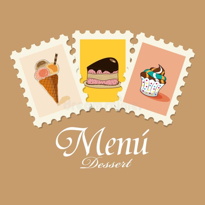 Dessert menu vector illustration