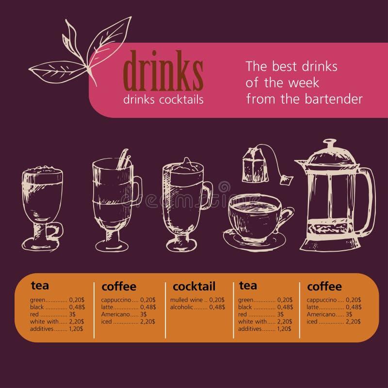 Dessert, menu, dranken, thee, koffie, cocktail, alcoholglazen, fles, menu, patroon, patroon vector illustratie