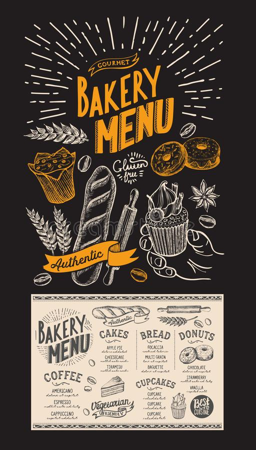 Dessert menu for restaurant. Bakery template with food hand-drawn graphic illustrations. Vector flyer for bar and cafe. vector illustration