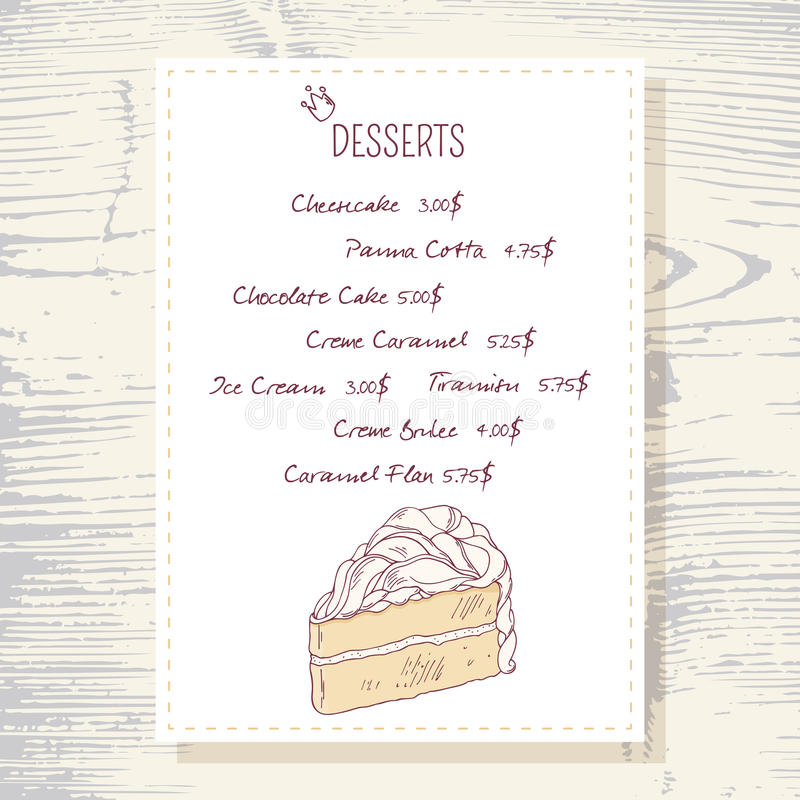 Download Dessert Menu Template With Sweet Vanilla Cake Stock Vector    Image: 58113480  Dessert Menu Template