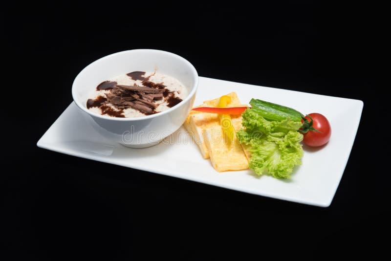 Dessert met eieren & groenten stock afbeeldingen