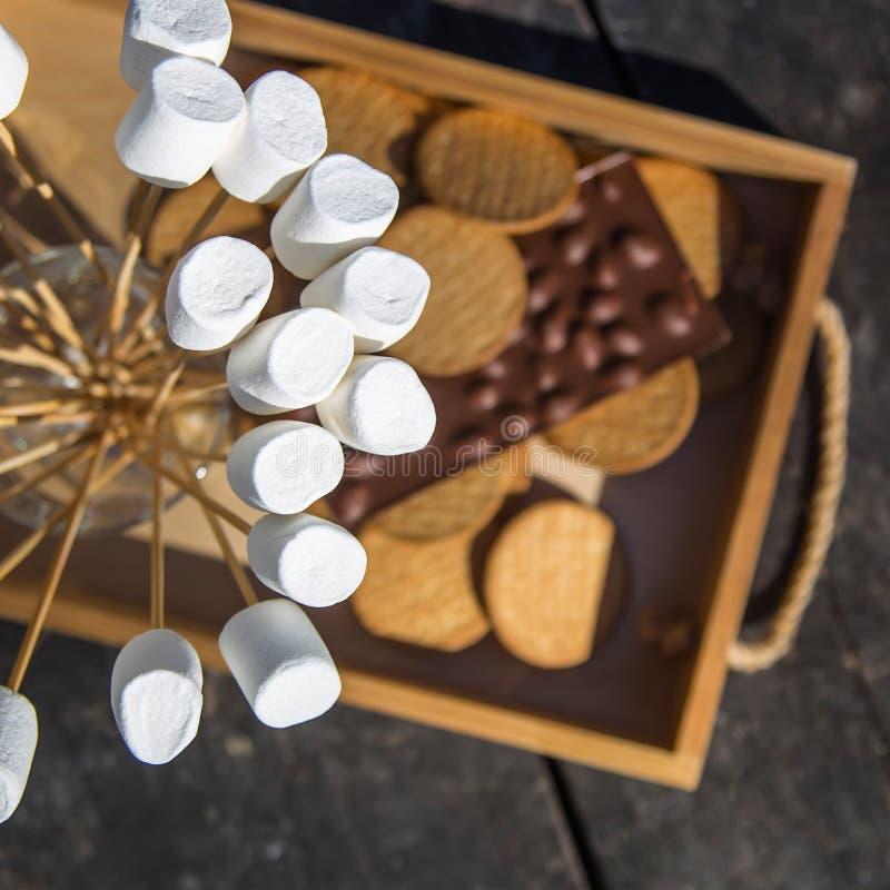 Dessert met heemst, chocolade en crackers na een barbecue in het park royalty-vrije stock foto's