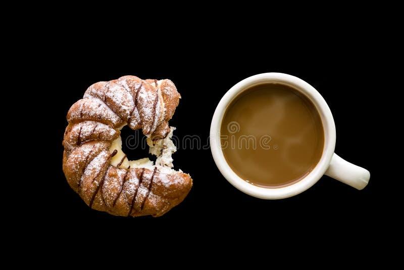 Dessert met Koffieachtergrond/Dessert met Koffie/Dessert met Koffie op Zwarte Achtergrond stock foto's