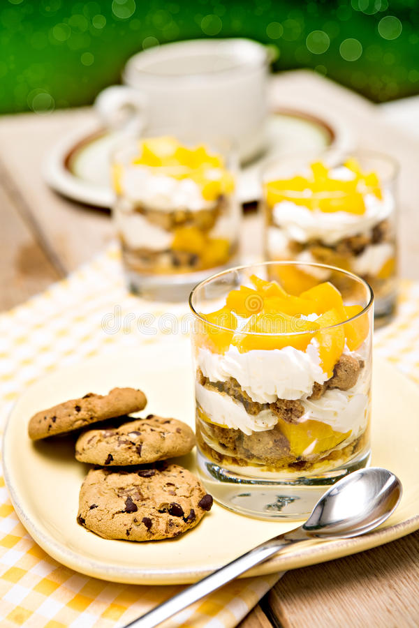 Dessert met mango stock afbeeldingen